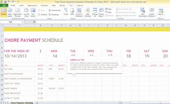Chore Chart Templates Excel Beautiful Free Chore Payment Schedule Template for Excel 2013