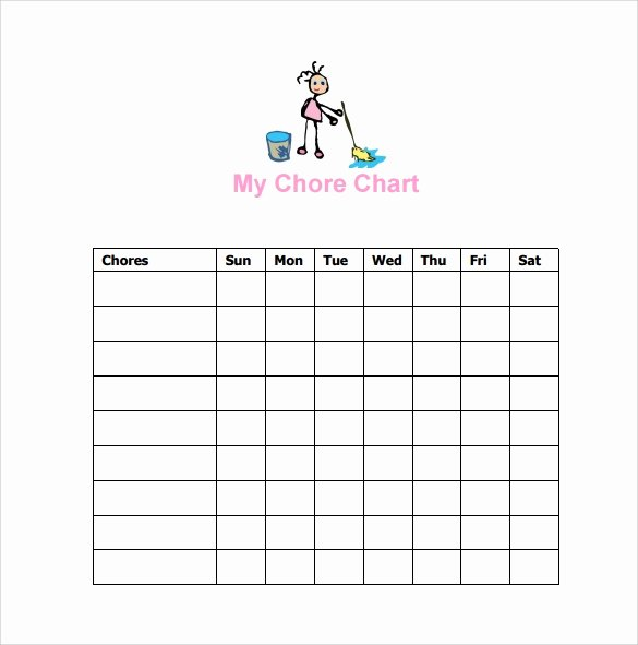 Chore Chart Templates Excel Beautiful Sample Chore Chart 9 Documents In Word Excel Pdf