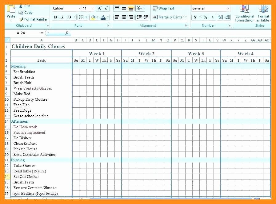Chore Chart Templates Excel Best Of 11 12 Chore Chart Template for Family