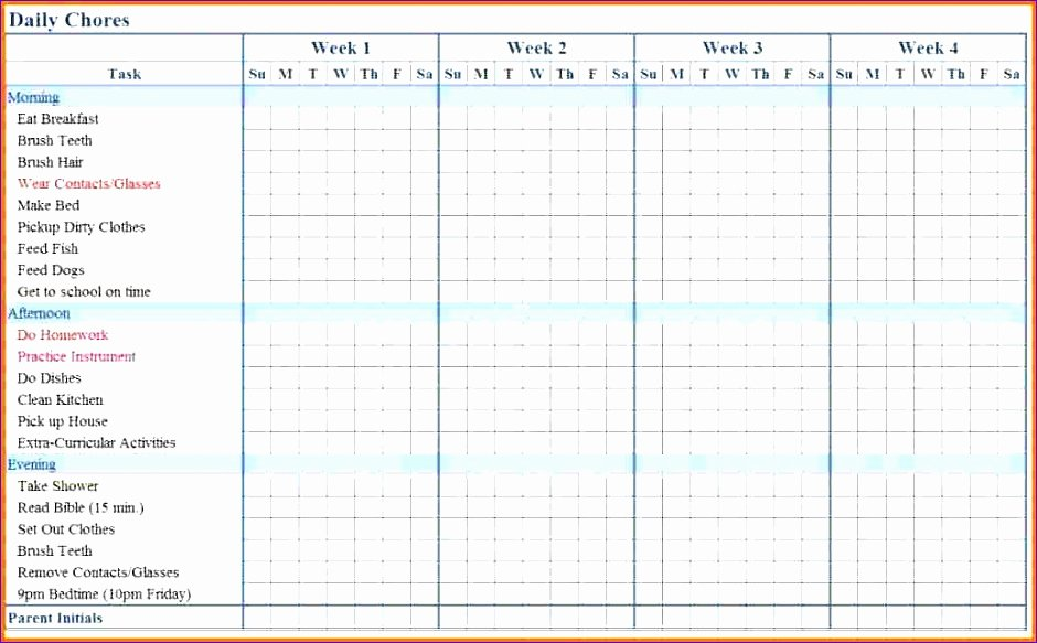 Chore Chart Templates Excel Best Of 5 Chore Chart Template Excel Exceltemplates Exceltemplates
