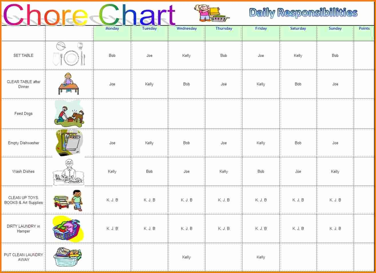 Chore Chart Templates Excel Best Of Chore Chart Template