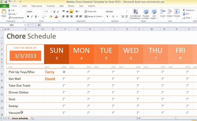 Chore Chart Templates Excel Inspirational Weekly Chore Schedule Template for Excel 2013