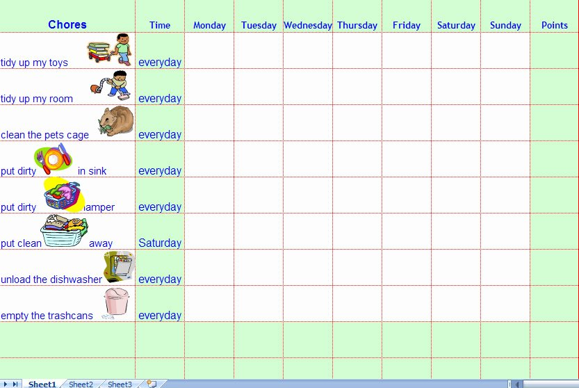 Chore Chart Templates Excel Luxury Chore Charts for Kids