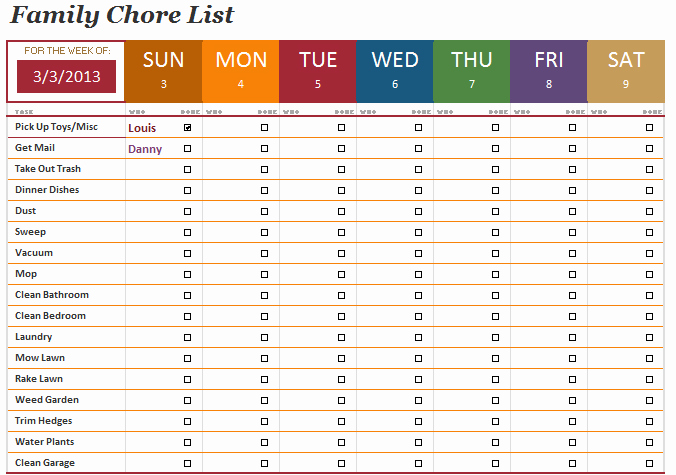 Chore Chart Templates Excel Luxury Family Chore List Template Microsoft Fice Templates