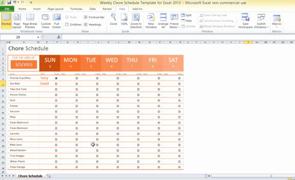 Chore Chart Templates Excel Luxury Weekly Chore Schedule Template for Excel 2013