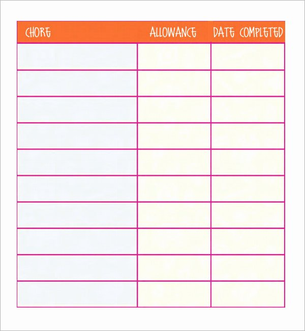 Chore Chart Templates Excel New 8 Chore List Templates