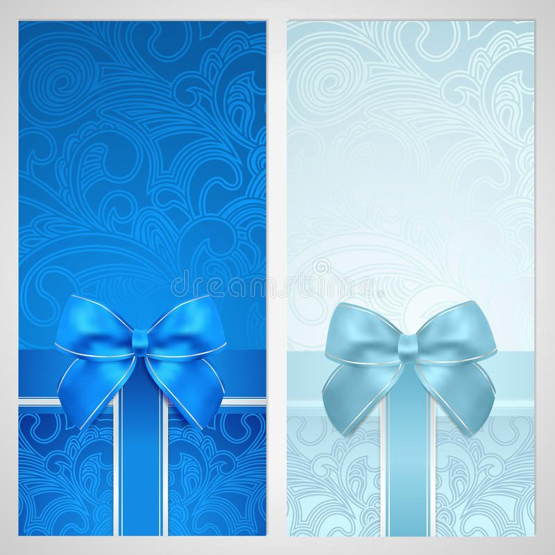 Christmas Bow Template Beautiful Voucher Gift Certificate Coupon Boxes Bow Stock