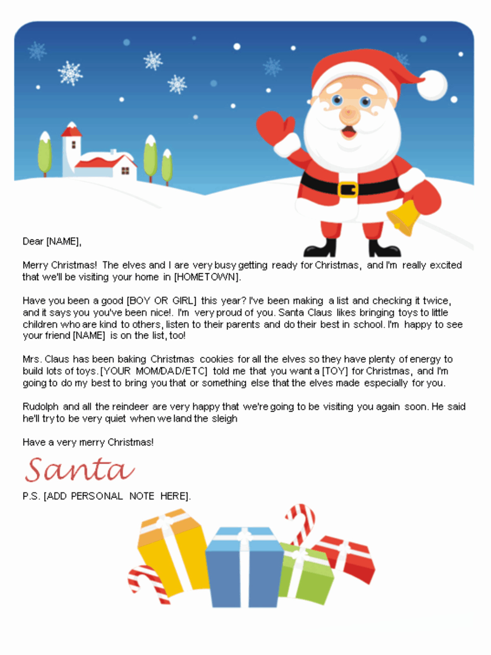 Christmas Letter Template Free Awesome Free Letters From Santa