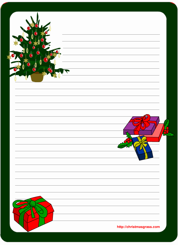 Christmas Letter Template Free Lovely Printable Stationery Template with Christmas Tree and Gifts
