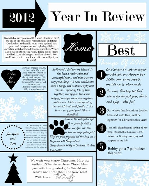 Christmas Letter Template Free New A Year In Review Christmas Letter and Template Stonegable