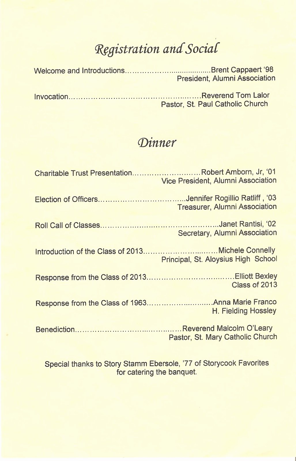 Church Banquet Program Best Of Church Banquet Program Outline