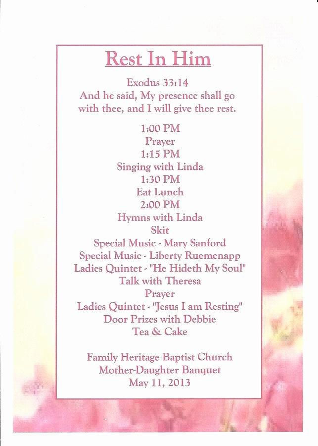 Church Banquet Program Best Of Program 2013 Mother Daughter Banquet Graph by