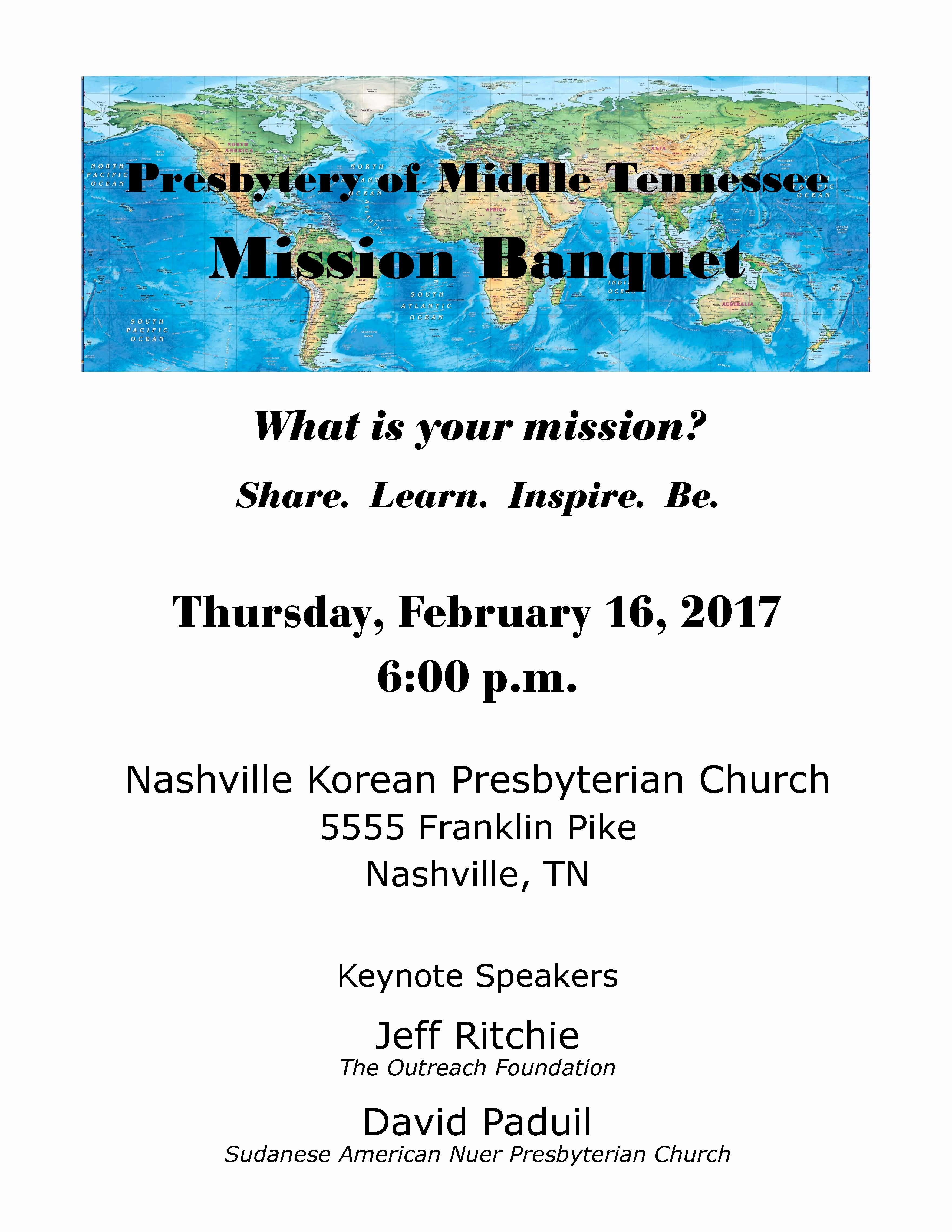 Church Banquet Program Fresh Mission Banquet – February 16 2017