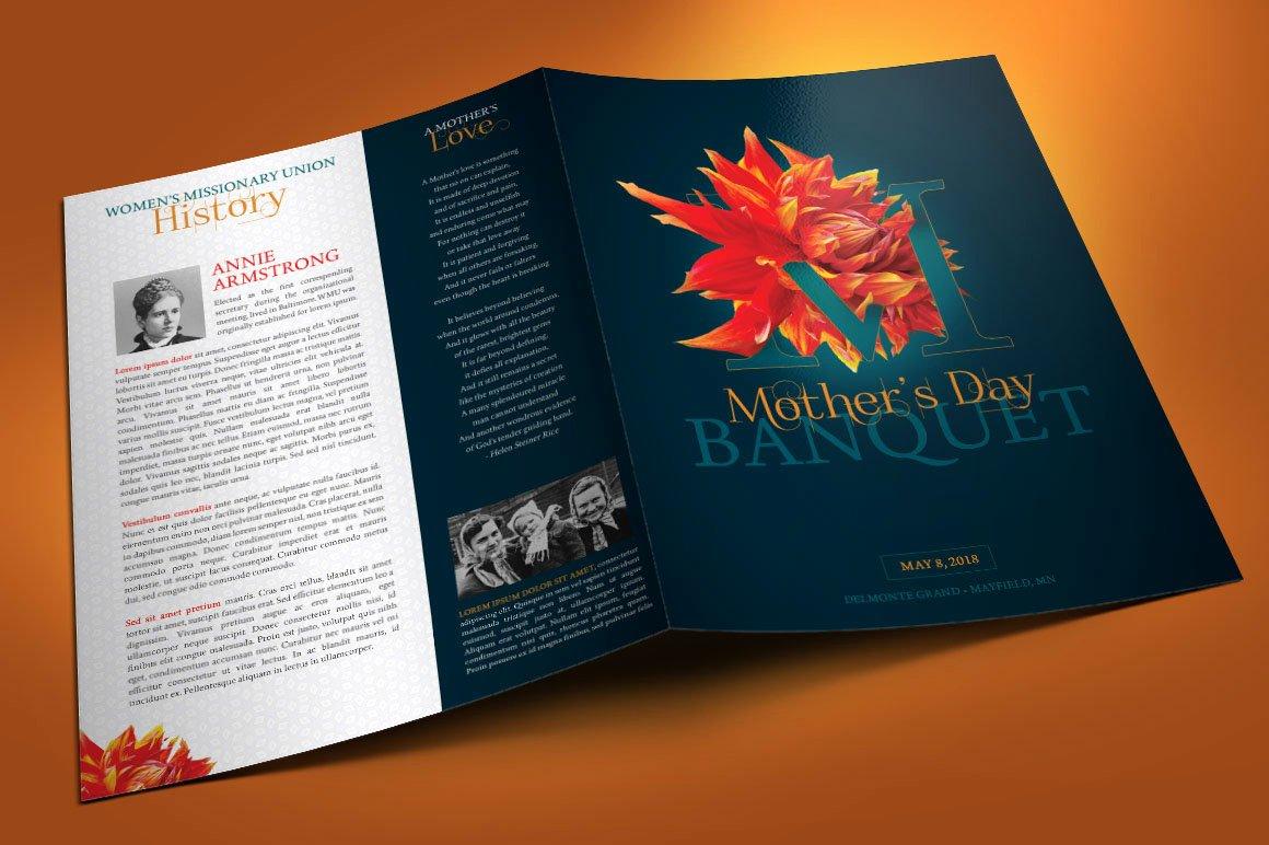 Church Banquet Program Fresh Mothers Day Banquet Program Template On Behance