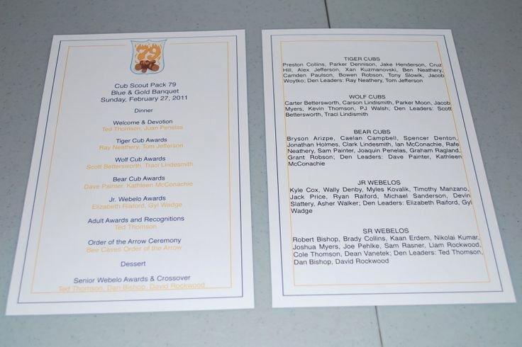 Church Banquet Program Inspirational Blue and Gold Banquet Program Template