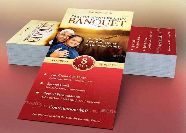 Church Banquet Program Inspirational Pastor Anniversary Banquet Ticket Template