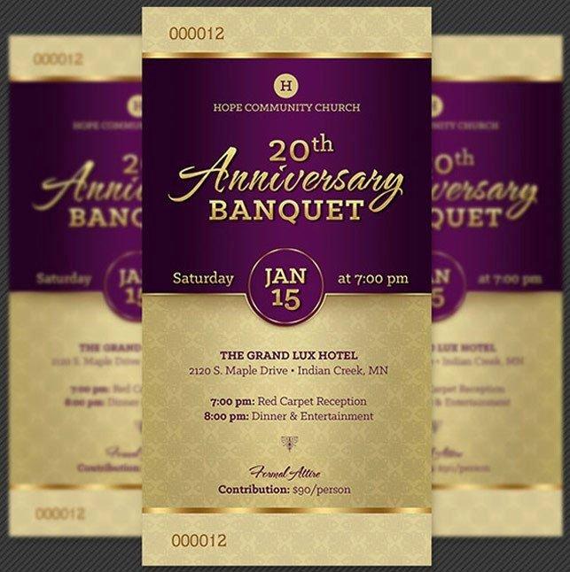 Church Banquet Program Lovely Church Anniversary Banquet Ticket Template