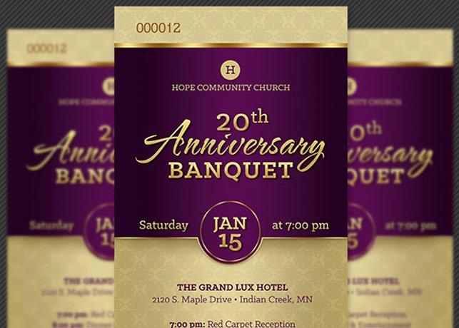 Church Banquet Program New Church Anniversary Banquet Ticket