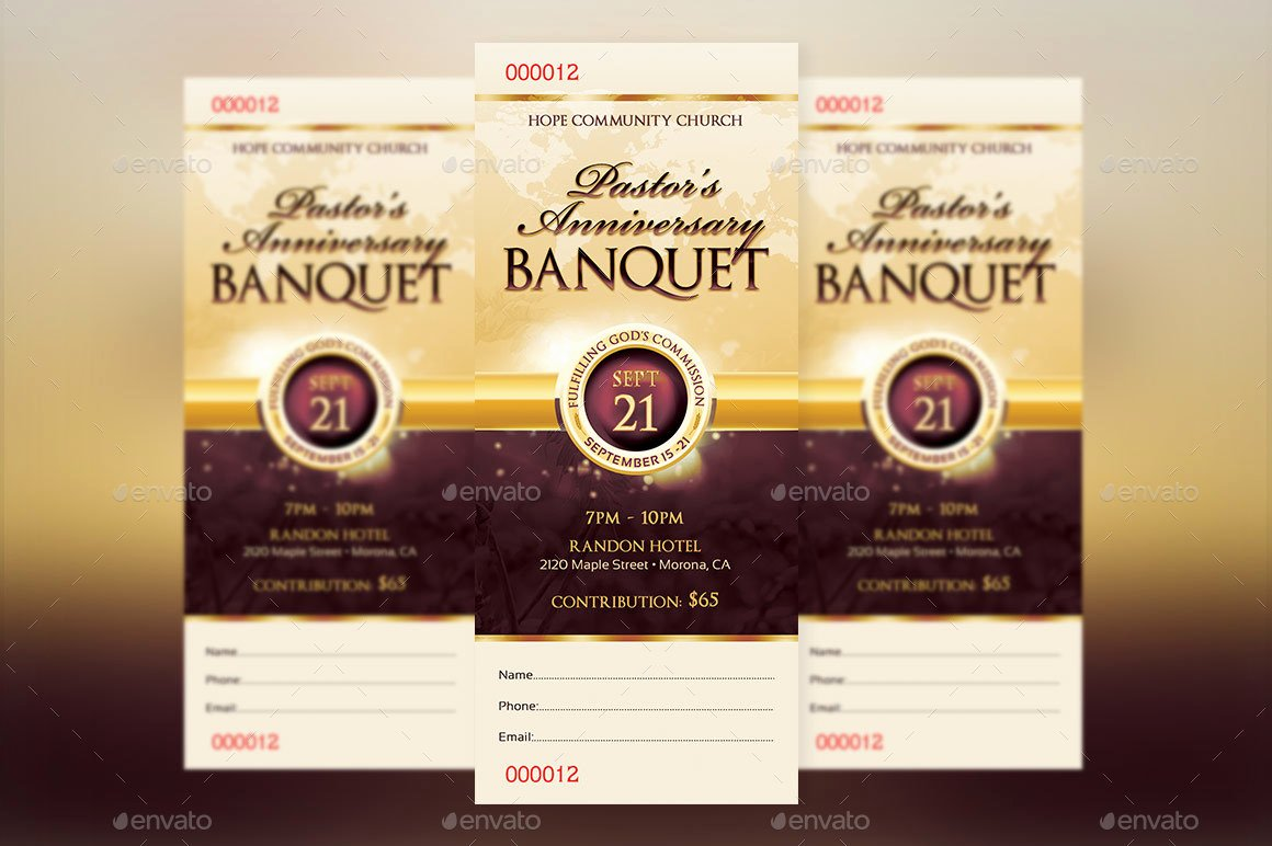 Church Banquet Program Unique Clergy Appreciation Gala Ticket Template by Godserv2