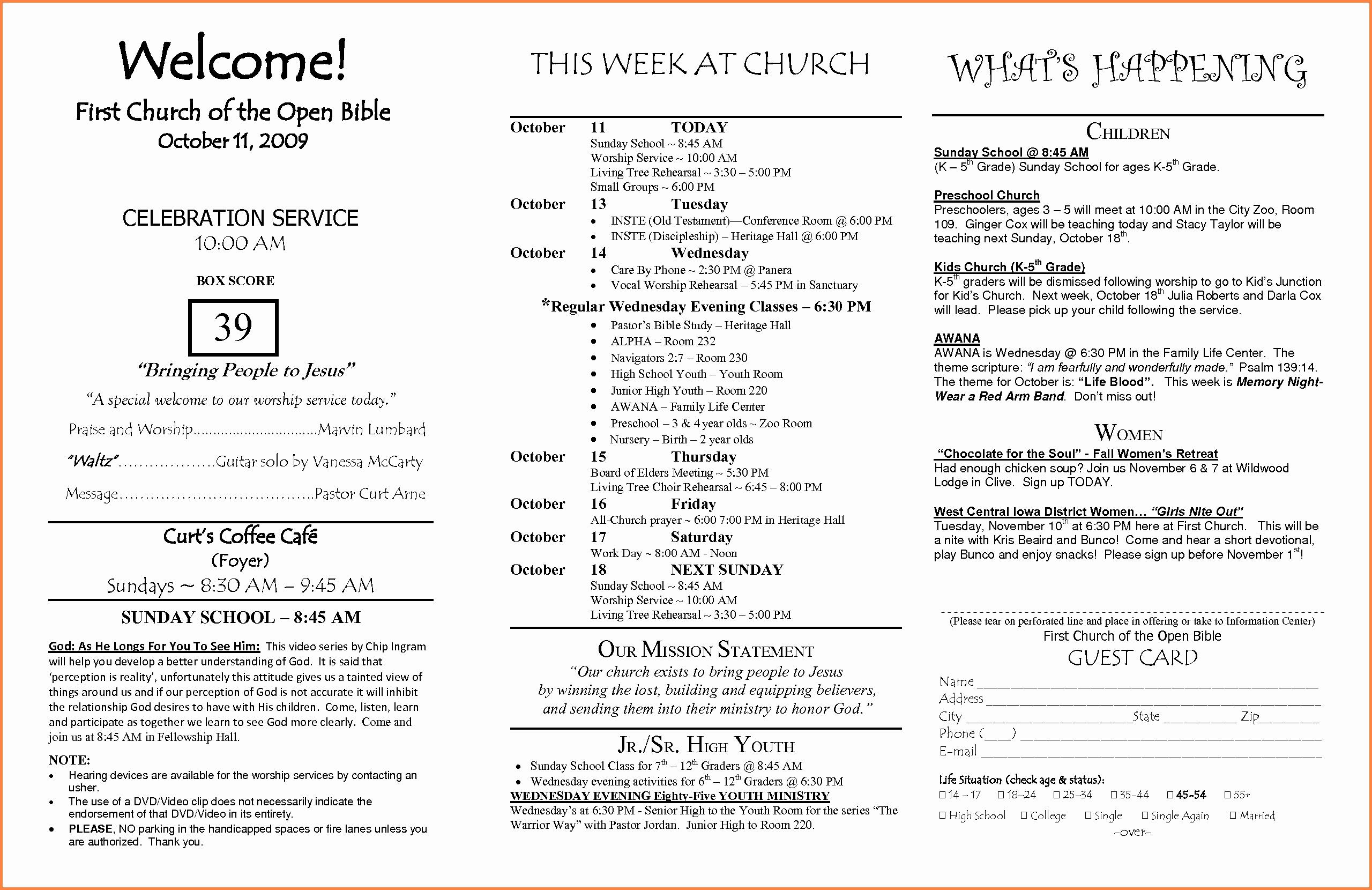 Church Bulletin Ideas Free Fresh 15 Church Program Template Free