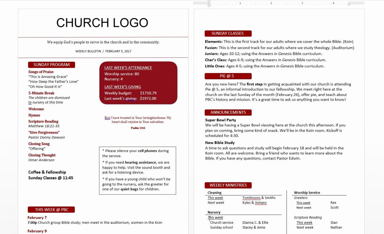 Church Bulletin Ideas Free Inspirational Church Bulletin Templates