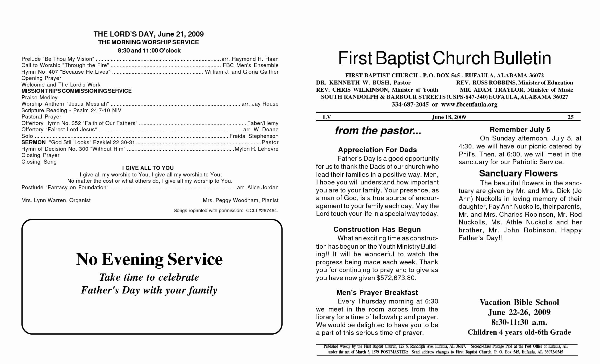 Church Bulletin Templates Free Beautiful Best S Of Baptist Church Service format Church