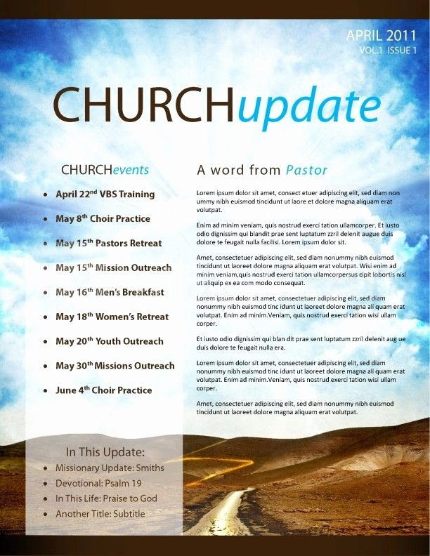 Church Bulletin Templates Free Elegant Pathway Church Newsletter Template Page 1