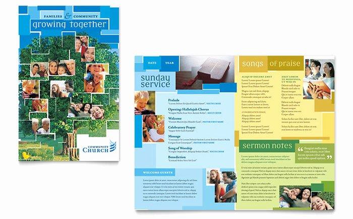 Church Bulletin Templates Indesign Lovely Munity Church Brochure Template Design