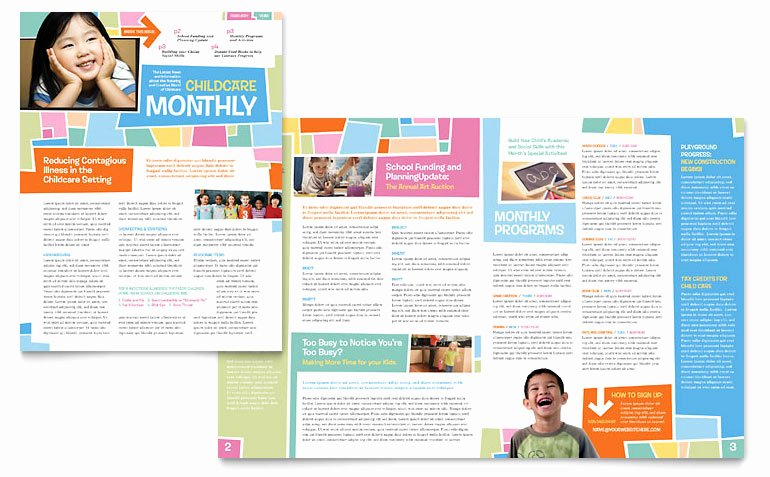 Church Bulletin Templates Microsoft Publisher Beautiful Preschool Kids & Day Care Newsletter Template Word