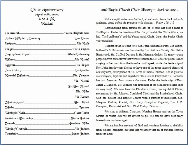 Church Bulletin Templates Microsoft Publisher Inspirational Church Bulletin Templates
