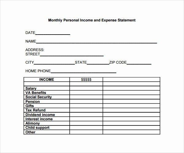 Church Income and Expense Statement Template Beautiful Personal In E and Expenses Template Statement
