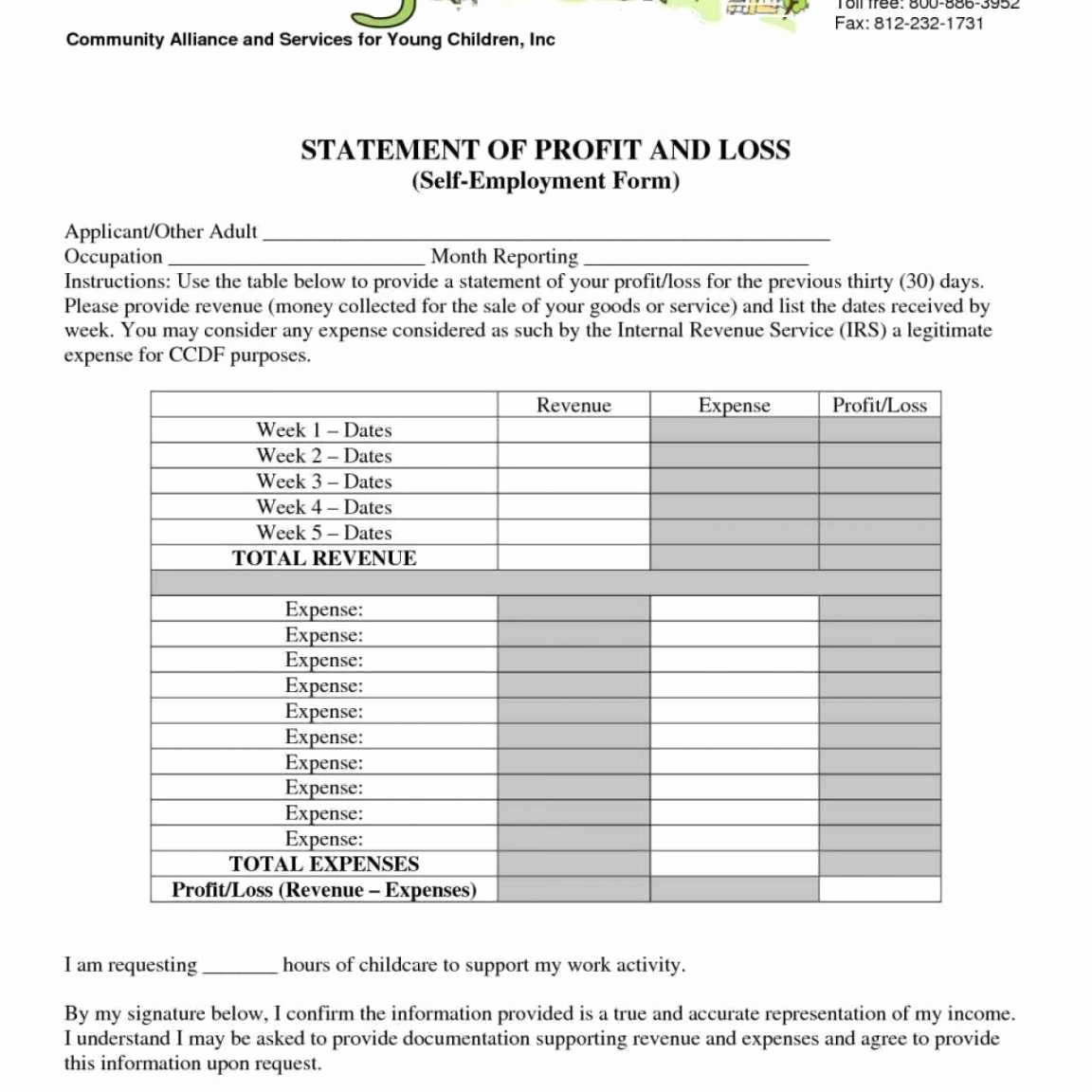 Church Income and Expense Statement Template Elegant Daycare Profit and Loss Statement Template and Daycare