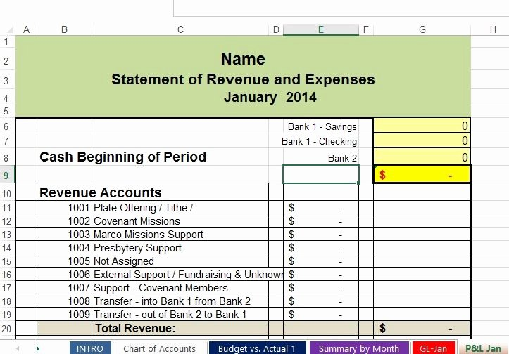 Church Income and Expense Statement Template New Free Non Profit Accounting Spreadsheets
