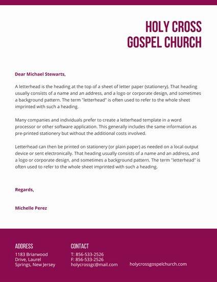 Church Letterhead Templates Luxury Letterhead Templates Canva