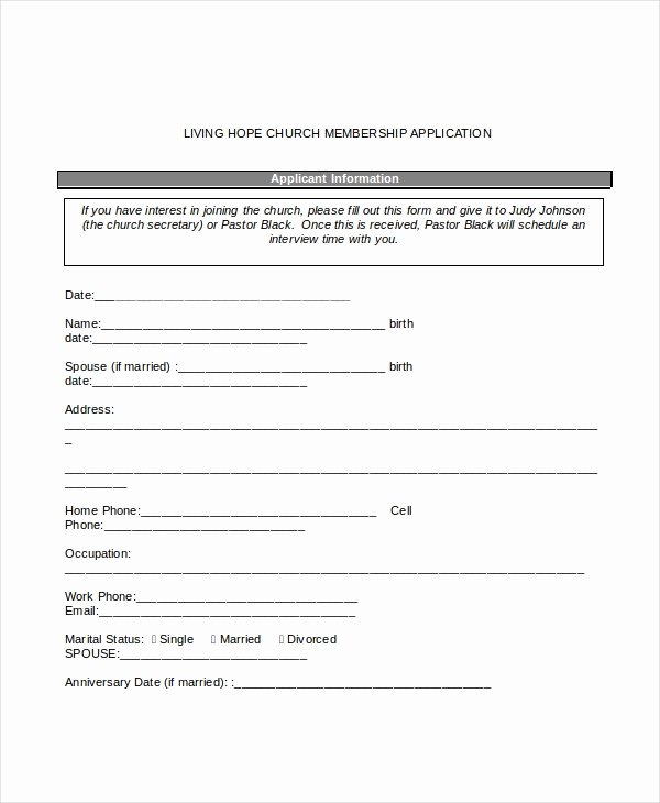 Church Membership form Beautiful 12 Sample Membership Application forms