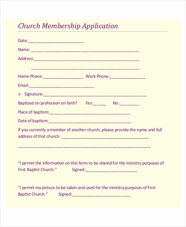 Church Membership form Fresh 8 Membership Application Examples & Samples