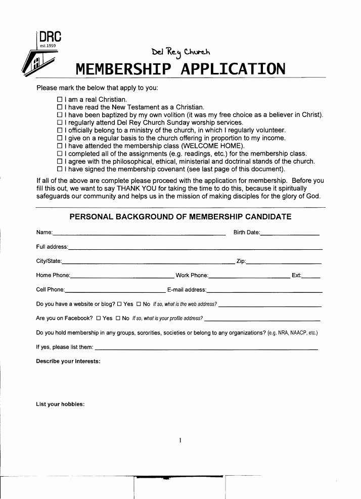 Church Membership form Inspirational Practicing Discernment Del Rey Church's Membership