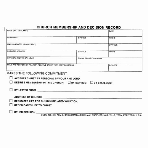 Church Membership form Lovely form Church Membership Decision Record Pkg Of 100