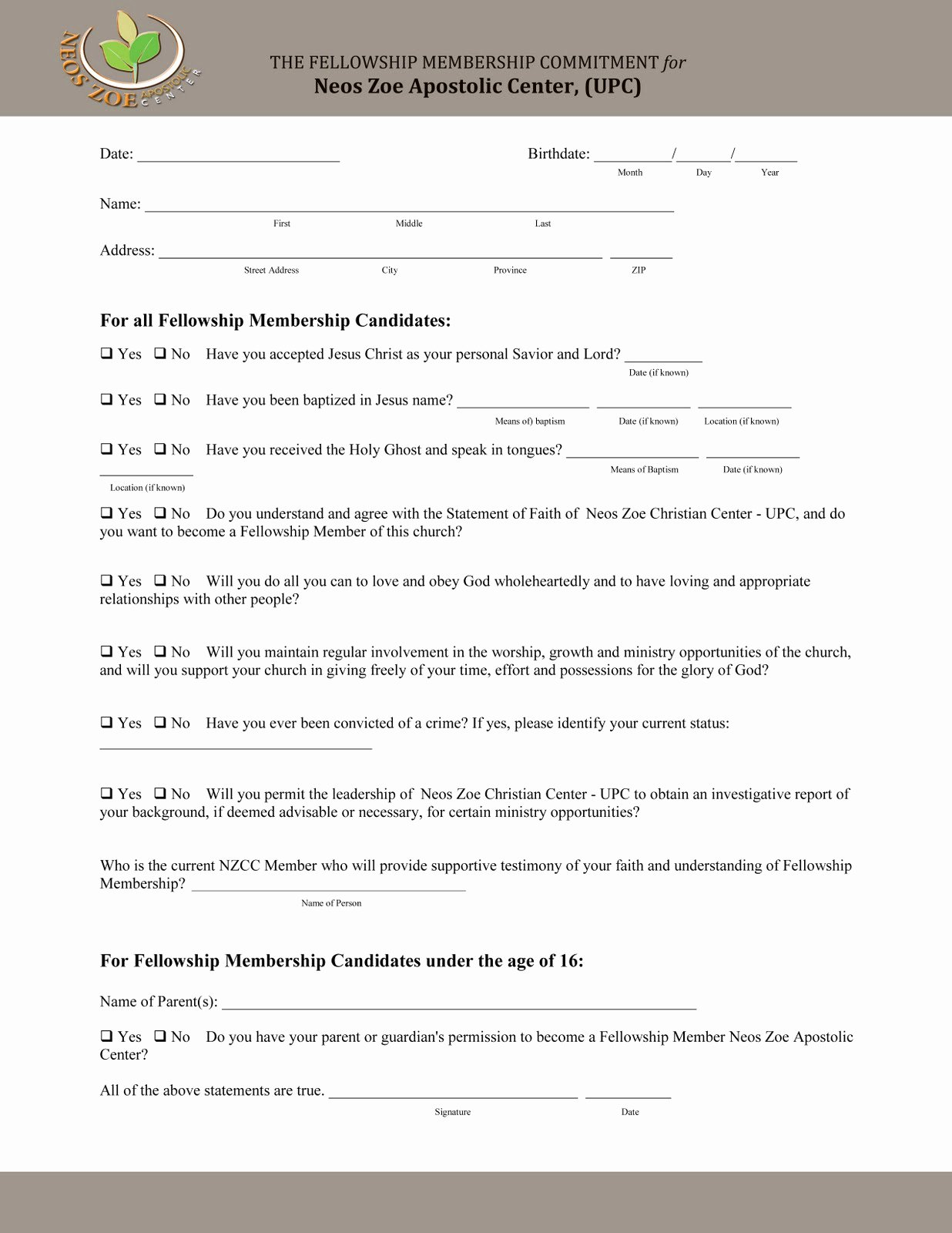 Church Membership form Unique Church Matters the Church Covenant form