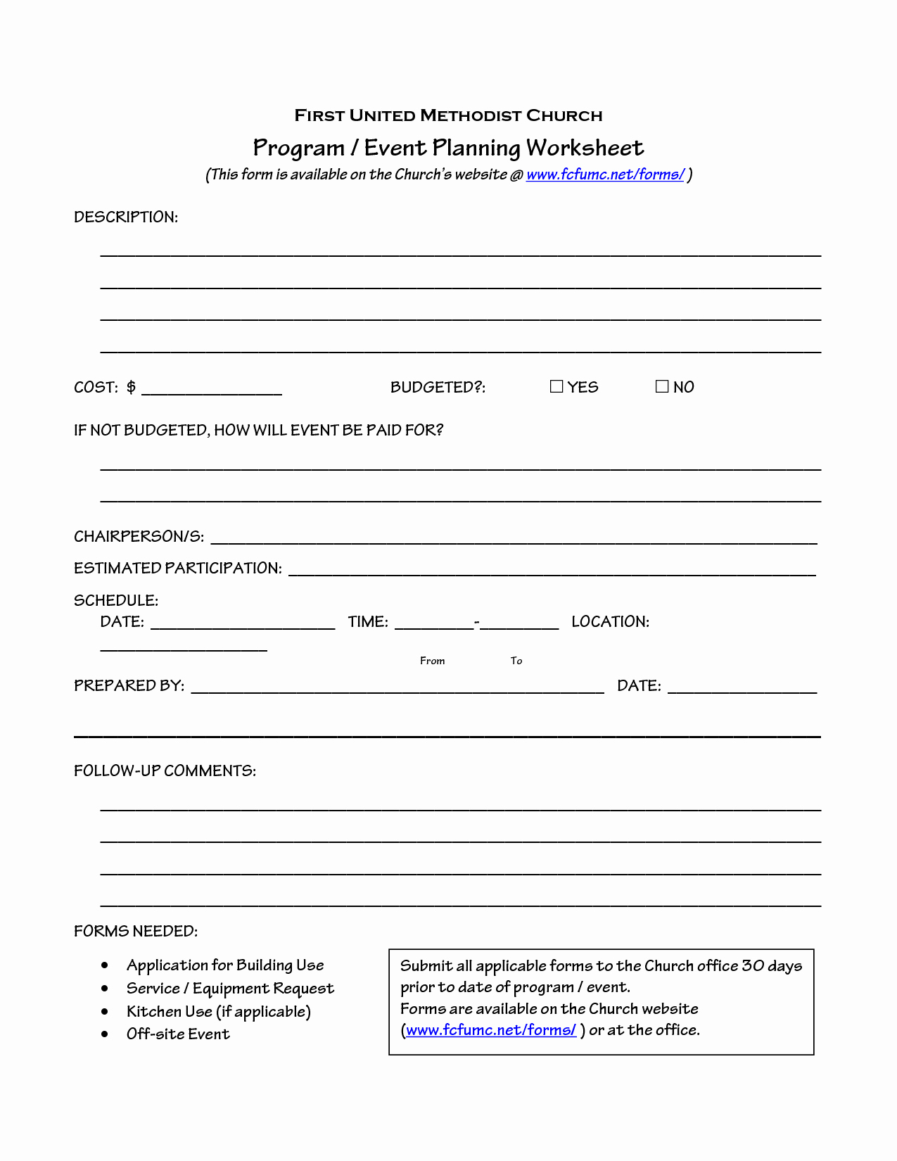 Church Ministry Budget Template Beautiful Church event Planning Worksheet organize It