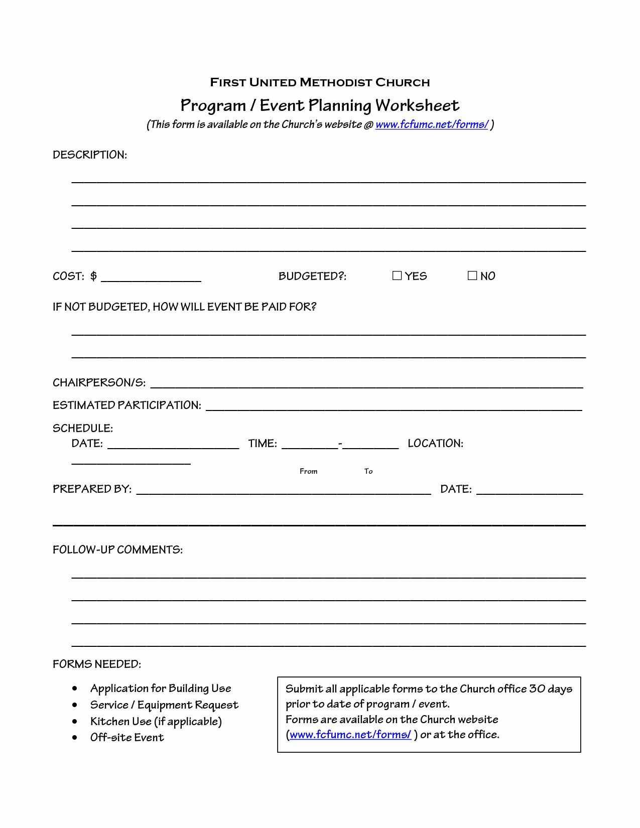 Church Ministry Budget Template Beautiful Church event Planning Worksheet organize It