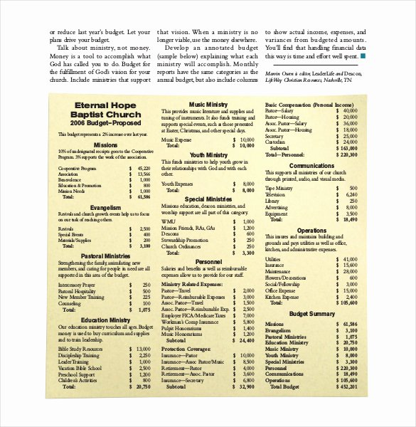 Church Ministry Budget Template Inspirational 16 Church Bud Templates Word Pdf Excel