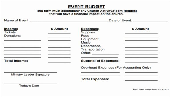 Church Ministry Budget Template New 5 Church Bud form Sample Free Sample Example format