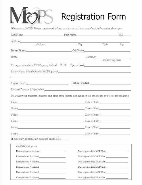 Church Registration form Awesome Mothers Of Preschoolers Chippewa Evangelical Free Church