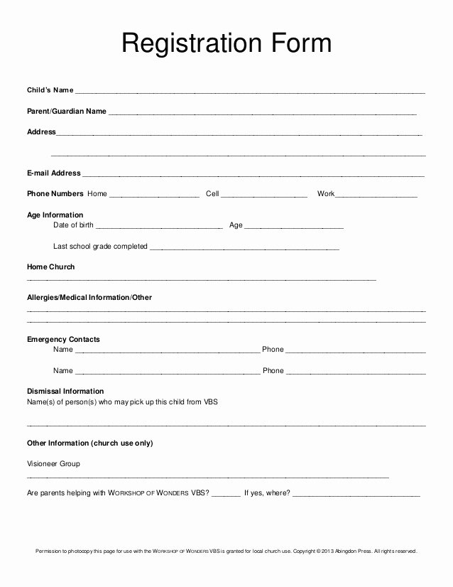Church Registration form Awesome Registration form Vbs