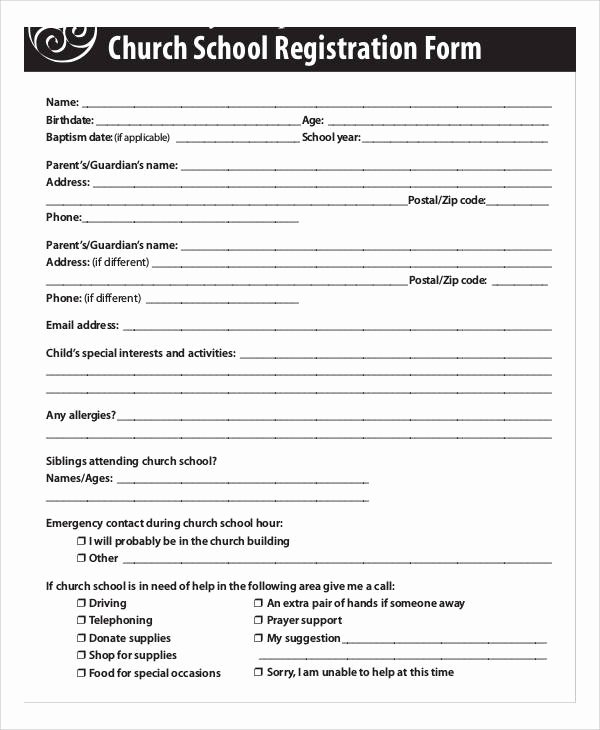 Church Registration form Awesome Registration forms In Pdf
