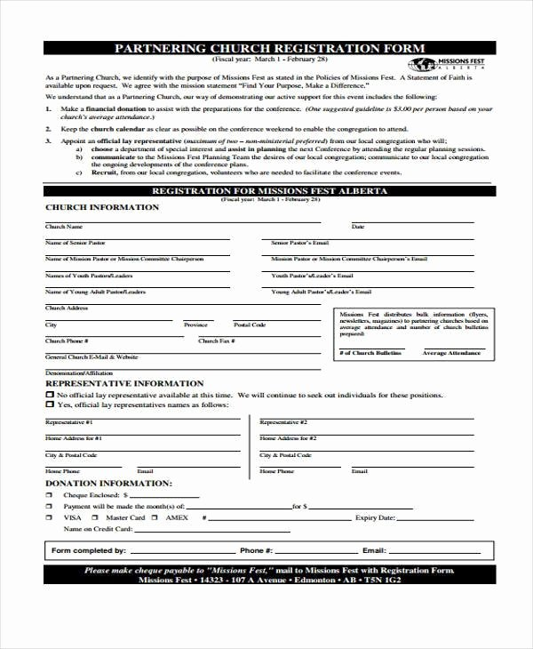 Church Registration form Awesome Sample Church Registration forms 8 Free Documents In