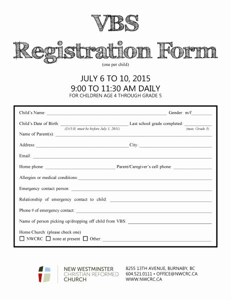 Church Registration form Beautiful Vbs New Westminster Christian Reformed Church In Burnaby Bc