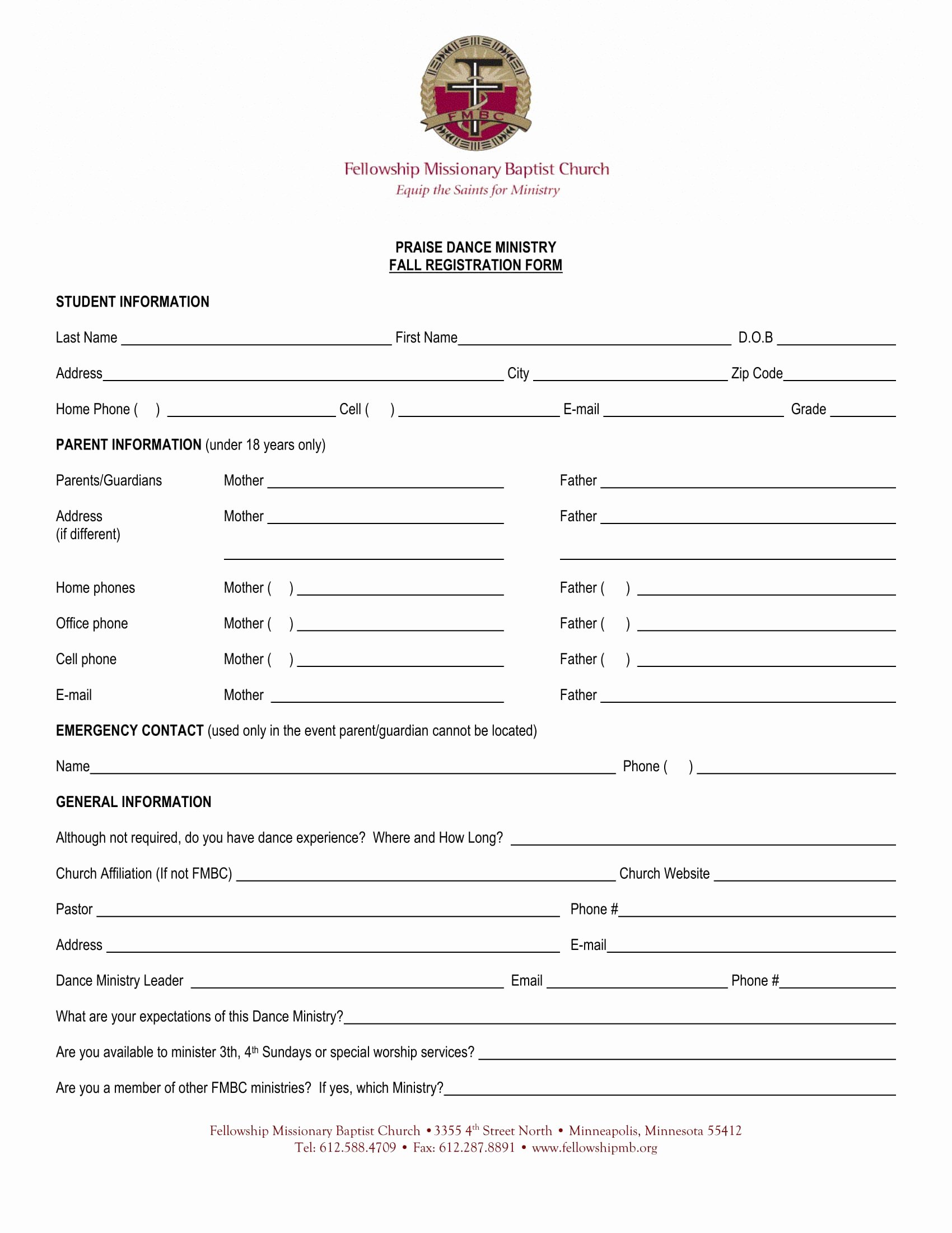 Church Registration form Best Of 10 Dance Registration form Samples