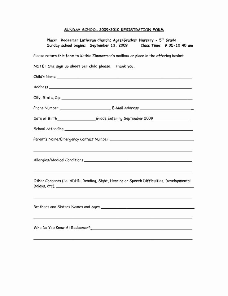 Church Registration form Best Of 65 Best Images About Sunday School On Pinterest